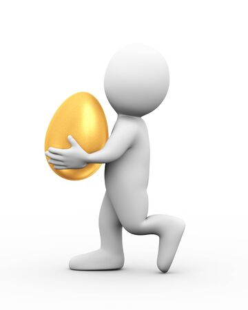 man carrying: 3d illustration of man carrying big shiny golden egg.  3d rendering of human people character