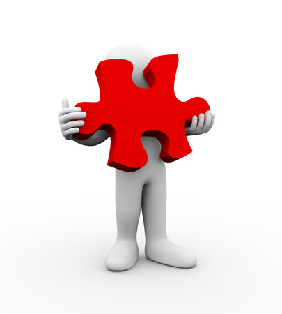 accomplish: 3d illustration of man holding big puzzle piece. 3d rendering of human people character. Stock Photo