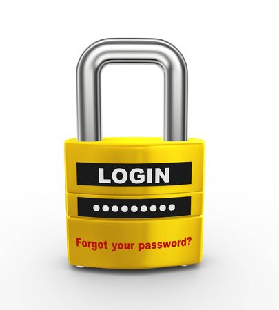 ssl: 3d illustration of ssl protected padlock with login and password information. Stock Photo