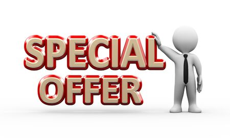 special events: 3d illustration of man standing with word text special offer.  3d rendering of human people character Stock Photo
