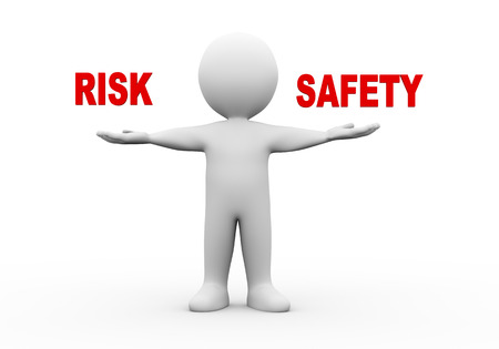 3d illustration of open hand man with word text risk safety.  3d rendering of human people character Stock Photo