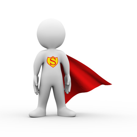 3d illustration of brave superman super hero with red cloak confident standing posture gesture.  3d rendering of white man person people character