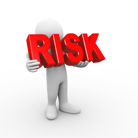 3d illustration of man holding word text risk.  3d rendering of human people character Stock Photo