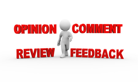 react: 3d illustration of man and word text comment feedback opinion review.  3d rendering of human people character Stock Photo
