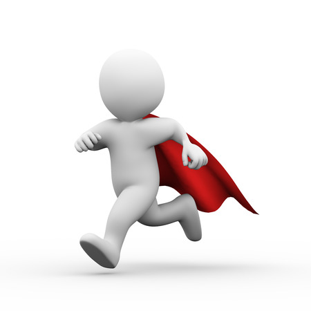 3d illustration of brave superman super hero with red cloak running for help and support.  3d rendering of white man person people character illustration
