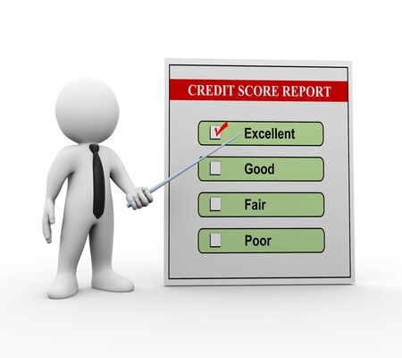 credit score: 3d illustration of man business person pointing to good credit score report.  3d rendering of man human people character