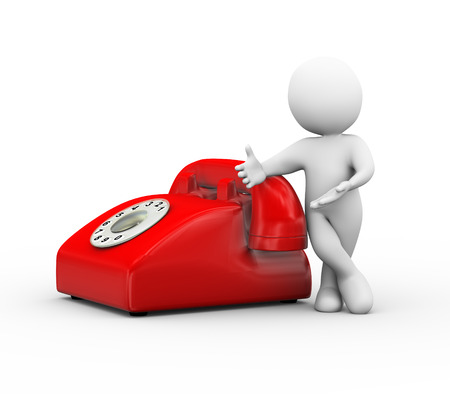 3d illustration of man standing with red rotary phone.  3d rendering of human people character and telephone