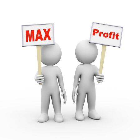 maximum: 3d illustration of people holding sign board banner of word text max profit.  3d rendering of man person human people character