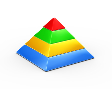 pyramid peak: 3d illustration of colorful four layer pyramid on white background Stock Photo