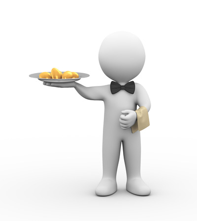 3d illustration of professional waiter holding plate of golden egg.  3d rendering of human people character