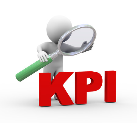 implement: 3d illustration of man holding magnifying glass looking at word text kpi  key performance indicator.  3d rendering of human people character Stock Photo
