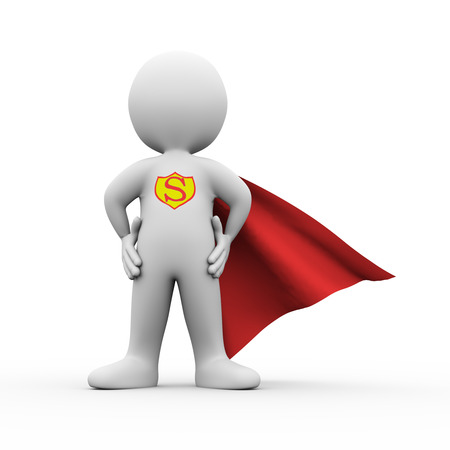 pretend: 3d illustration of brave  super hero with red cloak confident standing posture gesture.  3d rendering of white man person people character