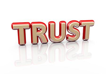 reflective background: 3d illustration of word text trust on reflective background Stock Photo
