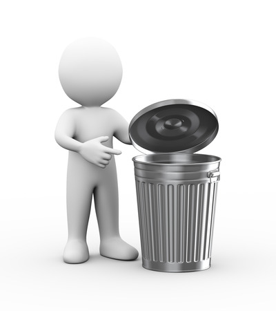 scrapheap: 3d illustration of man with shiny metal trash can bin.  3d rendering of human people character Stock Photo