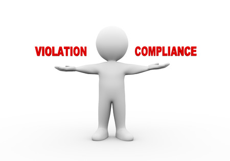 violation: 3d illustration of open hand man with word text violation compliance.  3d rendering of human people character Stock Photo