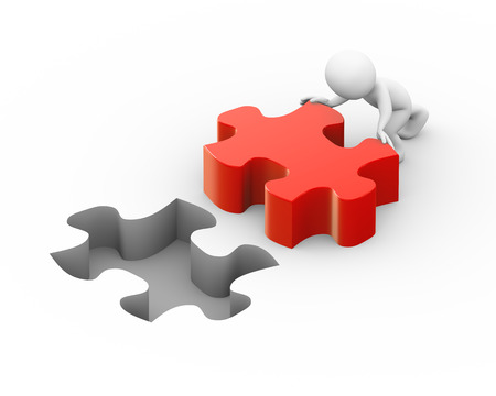 lard: 3d illustration of man pushing lard puzzle piece to fix it.  3d rendering of human people character Stock Photo