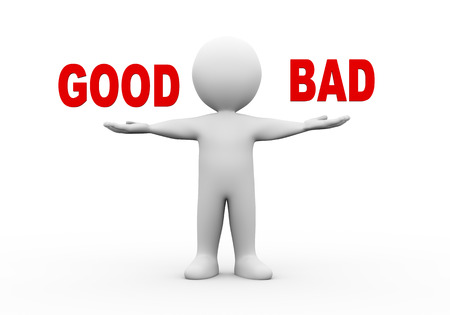 good bad: 3d illustration of open hand man with word text good bad.  3d rendering of human people character