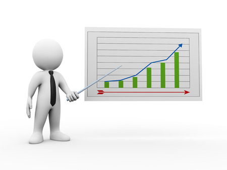 upward graph: 3d illustration of businessman pointing to business growth graph chart report.  3d rendering of human people character Stock Photo