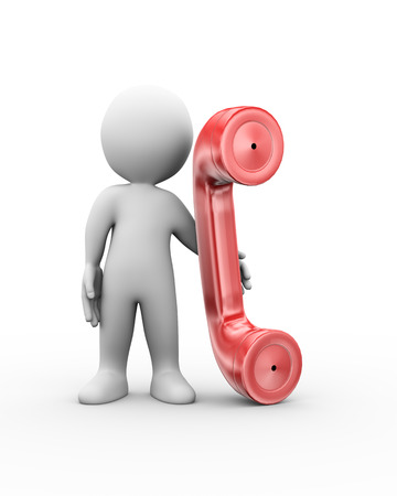 3d illustration of man standing with telephone handset.  3d rendering of human people character