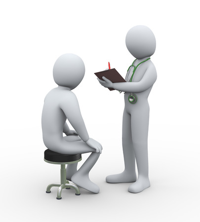 patient doctor: 3d illustration of doctor with stethoscope writing patient medical history report. 3d rendering of man - people character