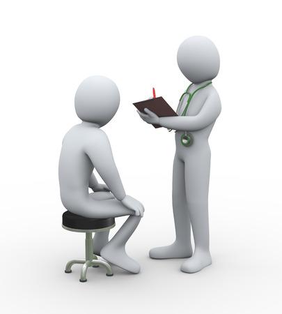 3d ilustración de médico con estetoscopio escrito paciente informe de historial médico. Representación 3D del hombre - el carácter de personas Foto de archivo