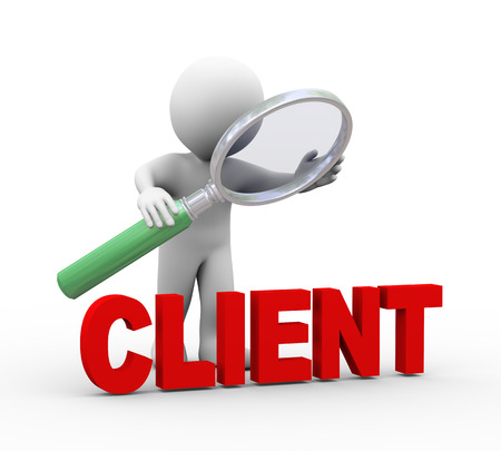 3d illustration of man holding magnifying glass looking at word text client.  3d rendering of human people character Фото со стока