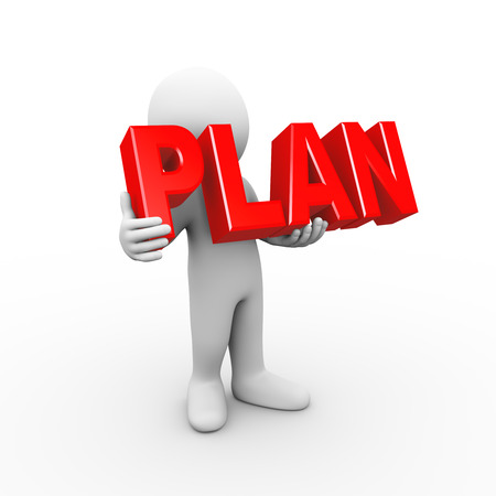 strategic focus: 3d illustration of man holding word text plan.  3d rendering of human people character