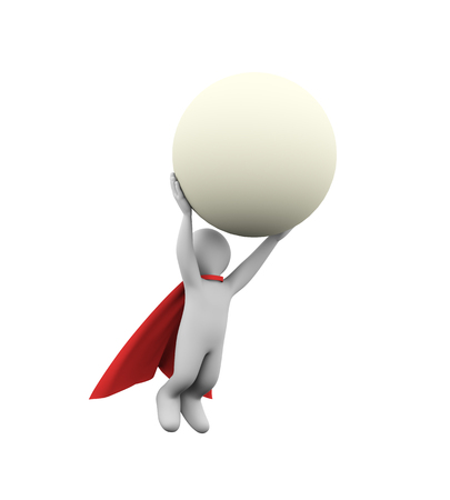 3d illustration of flying brave  super hero with red cloak carrying large sphere ball. 3d rendering of white man person people character