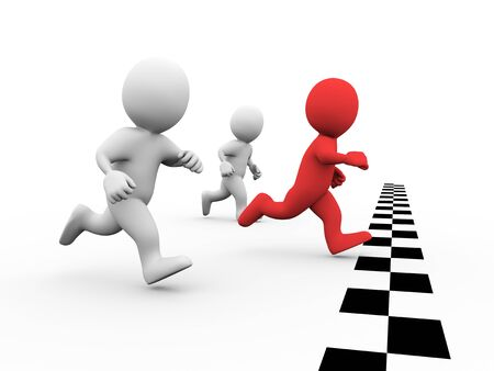 business leader: 3d illustration of winner man racer crossing check mark finish line. Concept of race, sport, competition, winning. 3d rendering of human people character Stock Photo