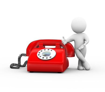 3d illustration of man standing with red rotary telephone.  3d rendering of human people character