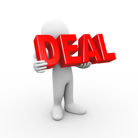 special event: 3d illustration of man holding word text deal.  3d rendering of human people character