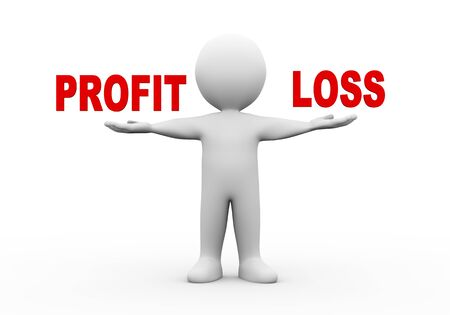 profit and loss: 3d illustration of open hand man with word text profit loss.  3d rendering of human people character