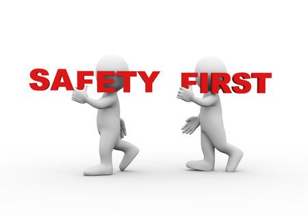3D-afbeelding van het lopen mensen die woord tekst veiligheid eerst op hun schouder. 3D-rendering van de mens mensen karakter
