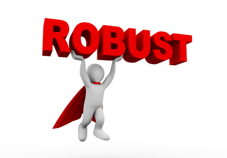robust: 3d illustration of flying brave superman super hero with red cloak carrying word text robust. 3d rendering of white man person people character
