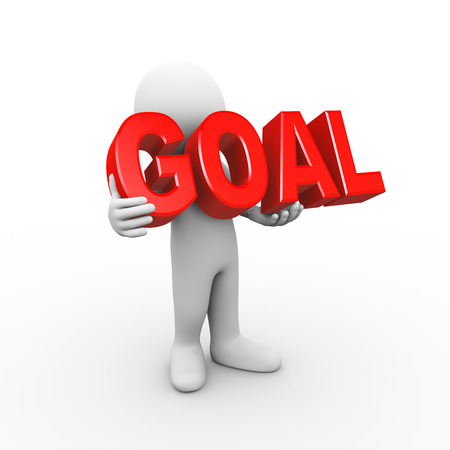 goal setting: 3d illustration of man holding word text goal.  3d rendering of human people character