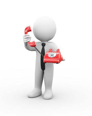 cable telefono: 3d ilustración del hombre que sostiene el teléfono y recibir llamadas telefónicas. Representación 3D de carácter humano de personas