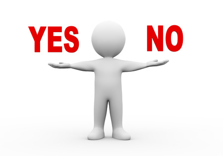 refusing: 3d illustration of open hand man with word text yes no.  3d rendering of human people character Stock Photo