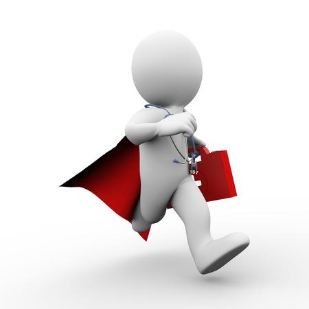 3D illustratie van het runnen van moedige dokter super man super held arts met rode mantel, EHBO doos en stethoscoop voor hulp en ondersteuning. 3D-rendering van de blanke man persoon mensen karakter
