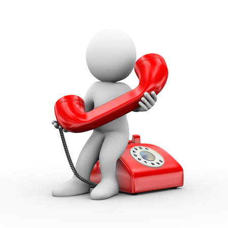 3d illustration of man holding phone handset and receiving telephone call.  3d rendering of human people character 스톡 콘텐츠