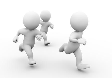 3d illustratie van mensen lopen. Concept van de race sport concurrentie. 3D-weergave van de menselijke mensen karakter