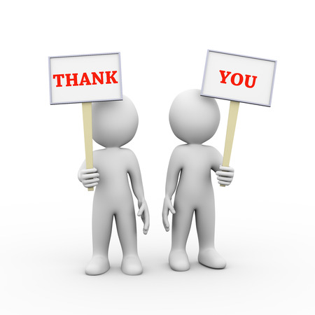 give thanks to: 3d illustration of people holding sign board banner of word text thank you.  3d rendering of man person human people character