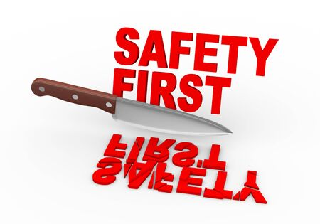 safety first: 3d illustration of large knife cutting text safety first Stock Photo