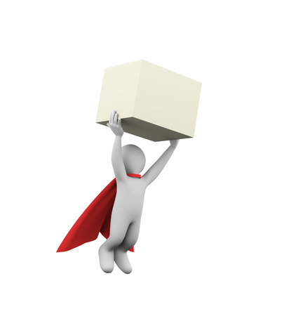 man carrying box: 3d illustration of flying brave superman super hero with red cloak carrying large cube box. 3d rendering of white man person people character