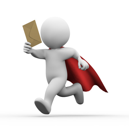 3d illustration of superman super hero with red cloak running with email envelop.  3d rendering of white man person people character.