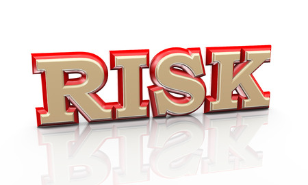 scenario: 3d illustration of word text risk on reflective background Stock Photo