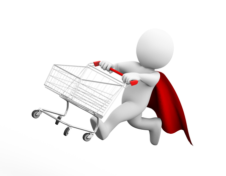 3d illustration of brave superman super hero with red cloak running flying with shopping cart.  3d rendering of white man person people character.