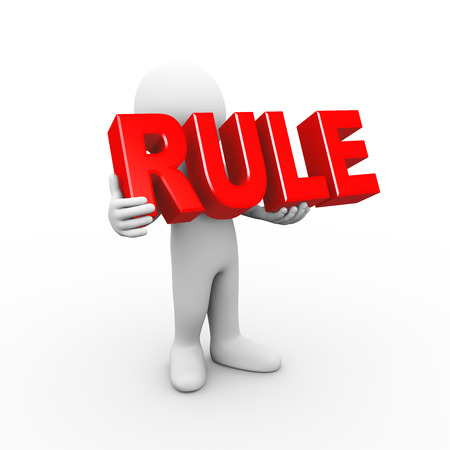 rules: 3d illustration of man holding word text rule.  3d rendering of human people character Stock Photo