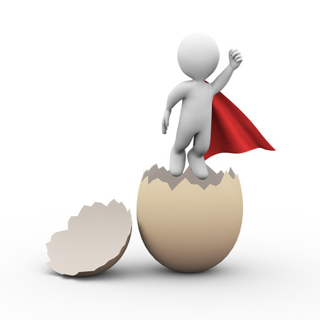 pathetic: 3d illustration of birth of brave super hero with red cloak flying from broken cracked egg shell. 3d rendering of white man person people character