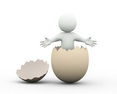 broken egg: 3d illustration of man posing welcome gesture inside cracked broken egg. 3d rendering of human character businessman Stock Photo