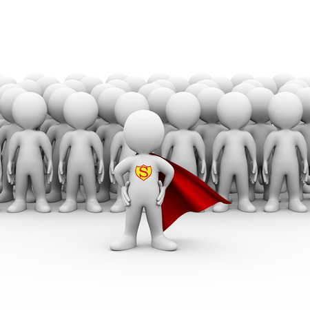 heroes: 3d illustration of brave super hero with red cloak standing in front of group of follower people.  3d rendering of white man person people character Stock Photo